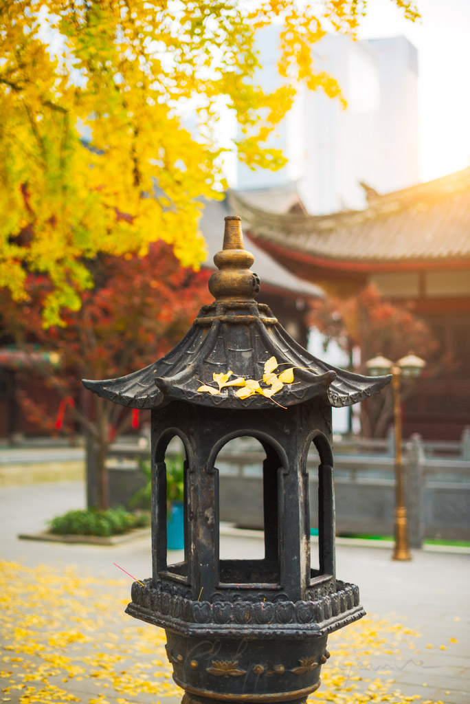 Incense tower in a buddhist temple against sun in autumn