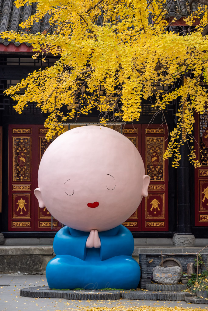 Manga monk statue under a ginkgo tree with yellow leaves in autumn in DaCi buddhist temple, Chengdu, Sichuan province, China