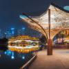Anshun bridge and JinJiang YinYue place illuminated at night panorama in Chengdu, Sichuan province, China