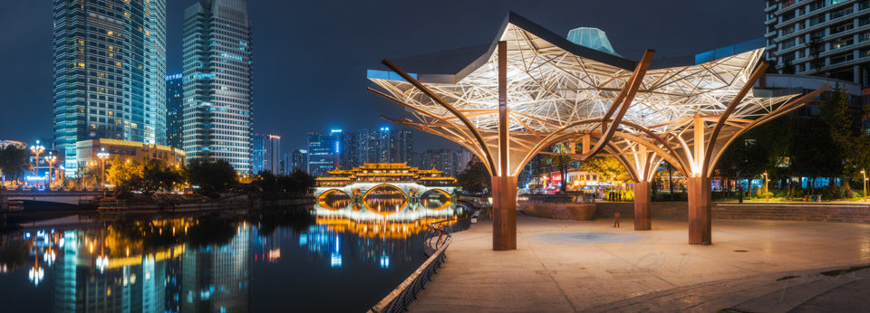 Anshun bridge and JinJiang YinYue place illuminated at night panorama in Chengdu, Sichuan province, China