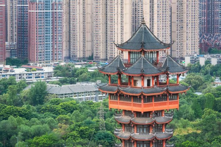 Chengdu Jiutian tower top in TaZiShan park against skyscrapers, Sichuan province, China