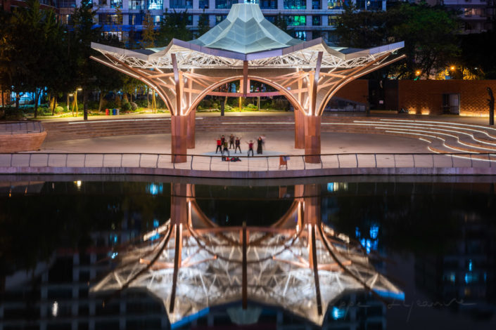 JinJiang YinYue place with music pavilion illuminated at night in Chengdu, Sichuan province, China