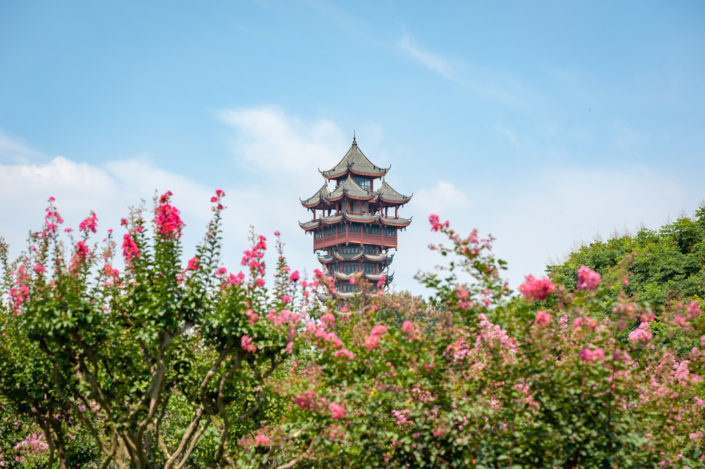 JiuTianLou tower with flowers in the foreground and blue sky in Chengdu, Sichuan province, China