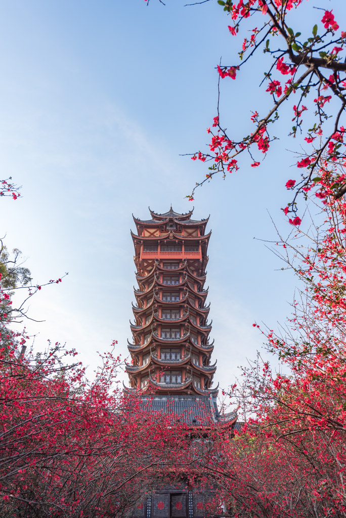 JiuTianLou tower with red flowers in the trees in Tazishan park, Chengdu, China