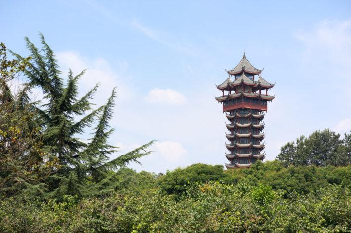 Jiutian tower in Tazishan Park in Chengdu is 70 meters high and has 13 layers, Chengdu, Sichuan Province, China.