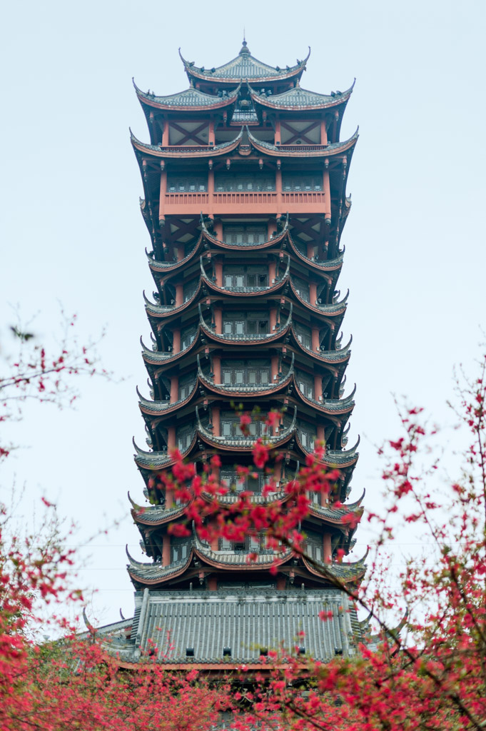 Jiutian tower in the Tazishan Park in Chengdu is 70 meters high and has 13 layers, Chengdu, Sichuan Province, China.