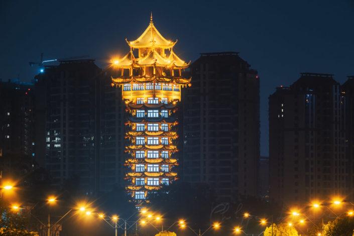 Jiutian tower illuminated at night in Chengdu, Sichuan province, China