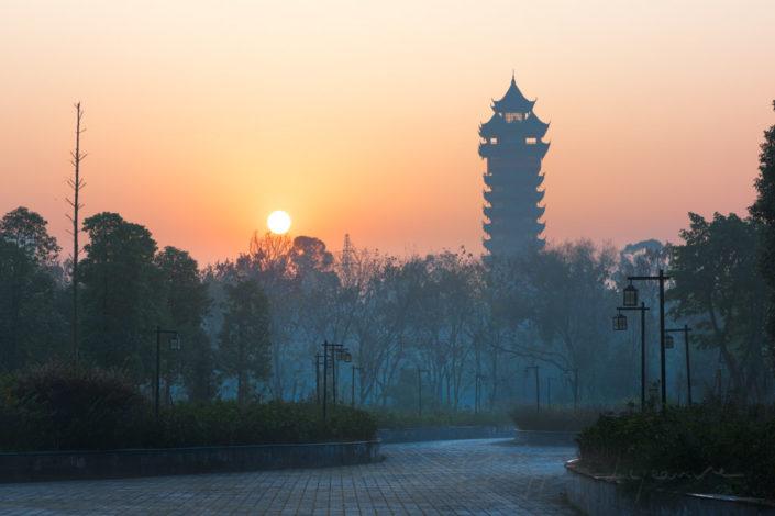Jiutian tower silhouette at sunrise Chengdu, Sichuan Province, China.
