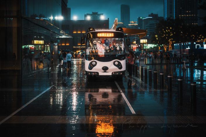 Panda truck near International Financial Square - IFS - under the rain at night, Chengdu, Sichuan province, China