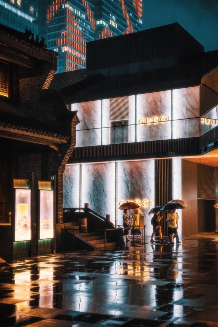 Taikooli under the rain at night, Chengdu, Sichuan province, China